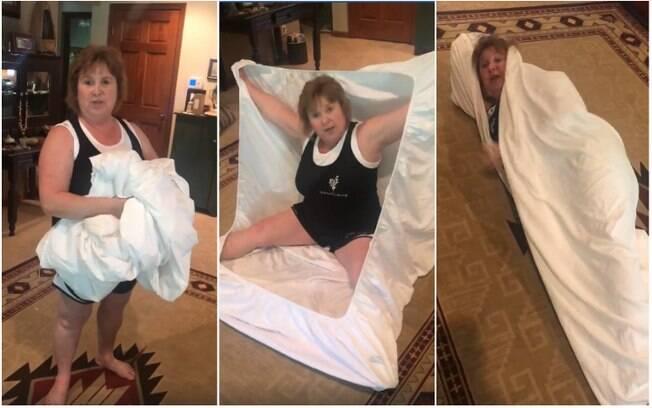 Como odeia dobrar lençol de elástico, Terri Estep Metz criou uma 'técnica' divertida para realizar a tarefa