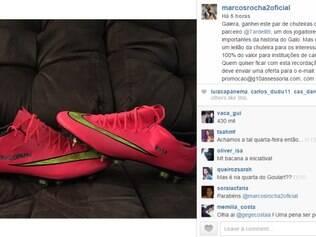 Marcos Rocha divulgou o leilão da chuteira de Diego Tardelli em seu perfil no Instagram