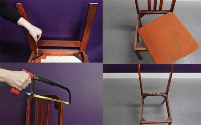 Etapas de retirada do assento e do encosto