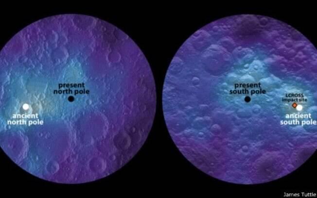 Em preto e na inscrição em inglês, os atuais polos sul e norte da Lua; em branco, os polos ancestrais, em regiões opostas e com indicação de presença de água congelada no local