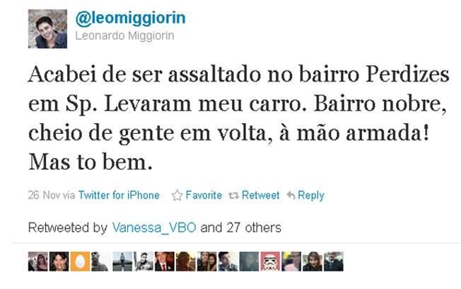 Leonardo Miggiorin contou que foi assaltado em São Paulo