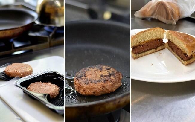 Hambúrguer na embalagem, na chapa e no prato