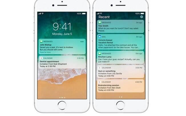 A nova tela de bloqueio do iOS 11 te permite ver as suas notificações com mais facilidade.