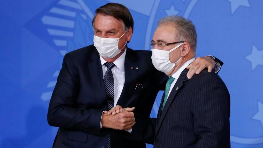 Presidente Jair Bolsonaro e ministro da Saúde Marcelo Queiroga