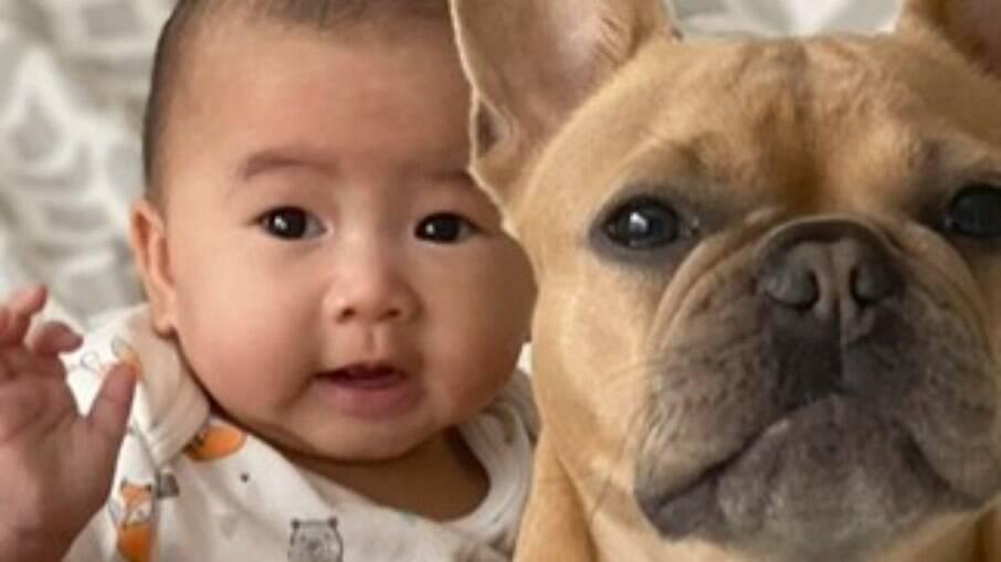 Cachorro e bebê são melhores amigos