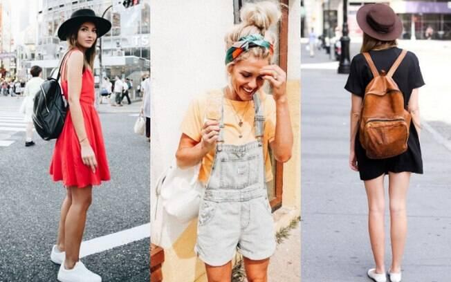 Os looks com mochila de couro também podem ser versáteis o suficiente para combinar com os dias mais quentes