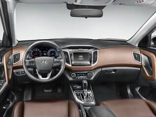 Interior do Hyundai Creta topo de linha tem boa dose da cor marrom para dar ideia de sofisticação