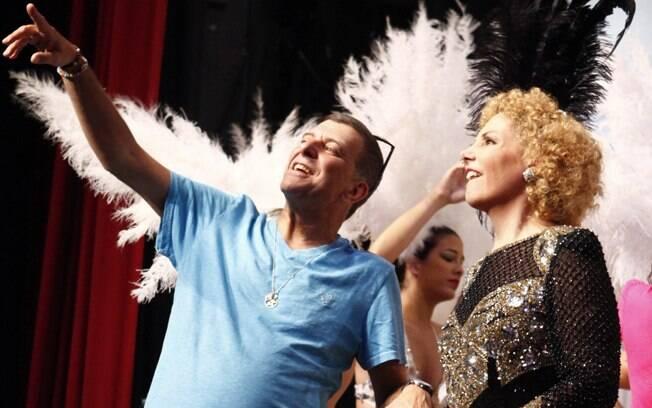 Jorge Fernando e Heloísa Perissé durante as gravações de