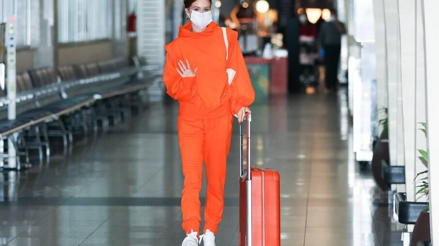 Marina Ruy Barbosa é vista no Aeroporto de Congonhas