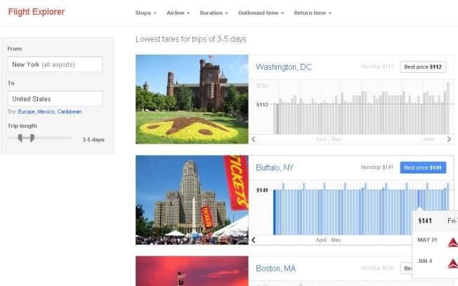 Flight Explorer, do Google, ajuda internautas a planejar viagens pelos EUA