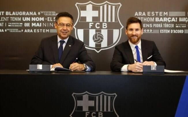Presidente da Roma quer Messi, que  renovou com Barcelona até 2021