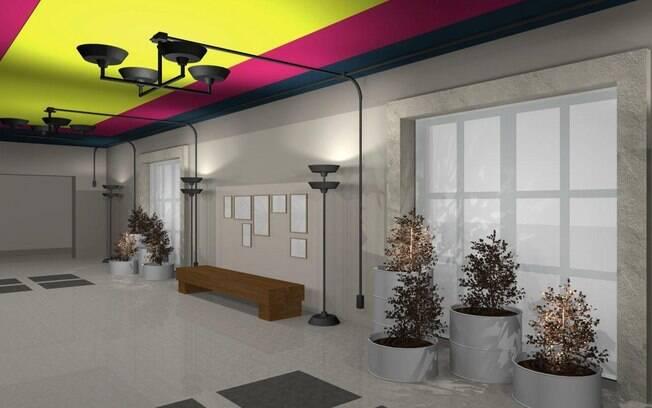 As cores no 'hall dos lofts' foram parar no teto. Projeto assinado pelo escritório Arkitito