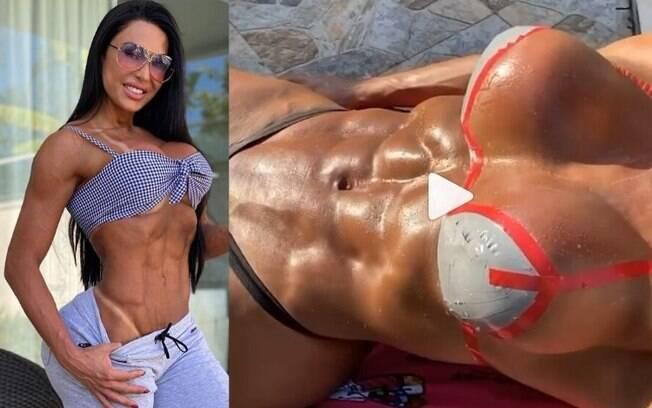 Gracyanne Barbosa usa biquíni de fita para tomar sol