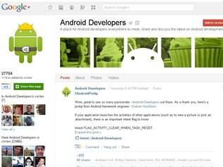 Página oficial para desenvolvedores Android no Google+