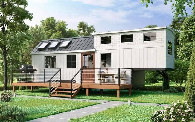 O projeto de casa barata foi feito em cima de um trailer, que continua funcional