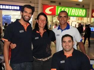 Da esquerda para a direita:  Andre Brasil (natação), Susana Schnarndorf (natação), Antônio Delfino (herói paralímpico) e Jovane Guissone (esgrima) marcaram presença no primeiro dia do evento