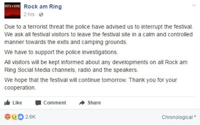 Organização do festival Rock am Ring, na Alemanha, fez o anúncio sobre a evacuação por meio do Facebook