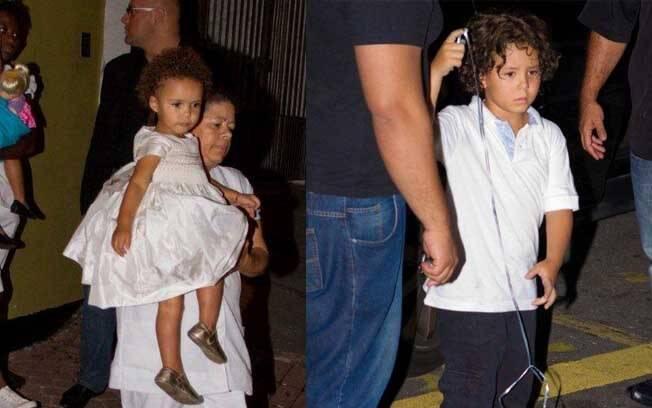Na esquerda, Maria Alice no colo da babá. Na direita, Alex, filho de Ronaldo com Michelle Umezu, que comemorou o aniversário de 7 anos nessa sexta-feira (13)