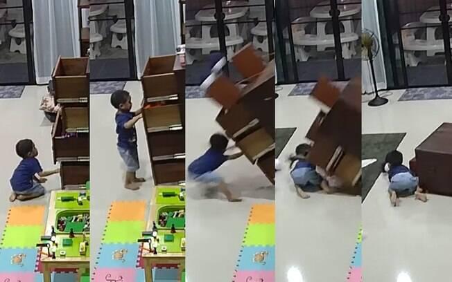 Menino brincava sozinho com as gavetas do móvel, que caiu sobre ele por não ter nenhuma proteção contra acidentes