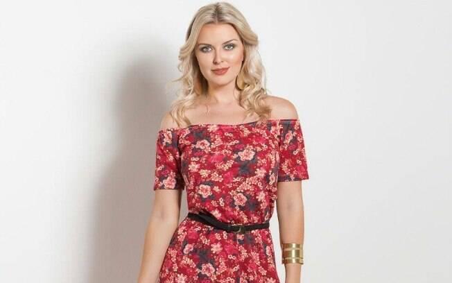 Vestido Longo Ombro a Ombro Floral Vermelho a partir de R$ 49,99
