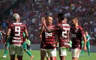 Com recital de Arrascaeta e Gabriel, Flamengo atropela Goiás no Maracanã