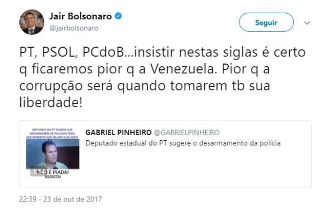 Em 2007, Jair Bolsonaro publicou a mesma notícia falsa em seu perfil no Twitter