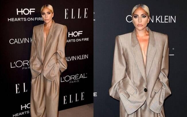 Entrando na onda do terno para mulher, Lady Gaga apareceu usando a peça no evento Women in Hollywood, nos EUA