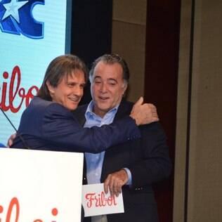 Tony Ramos e Roberto Carlos em evento da Friboi