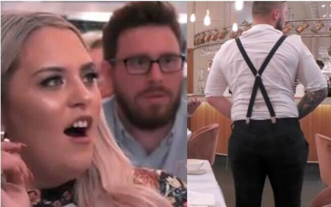 Homem mostra tatuagem íntima para parceira em um restaurante