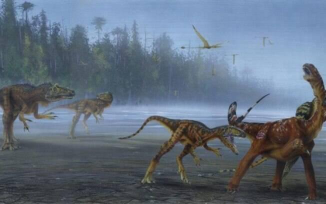 Alossaurus Jimmadseni, novo dinossauro descoberto, ataca presa