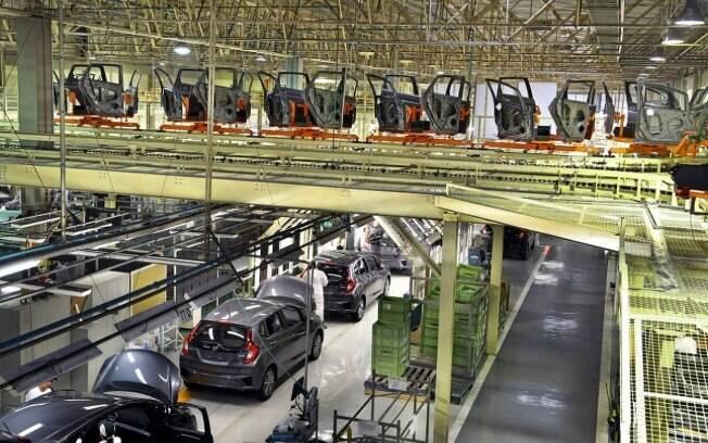 Planta de Sumaré (SP), na linha de produção do Honda Fit, que será o primeiro a ser feito em Itirapina (SP)