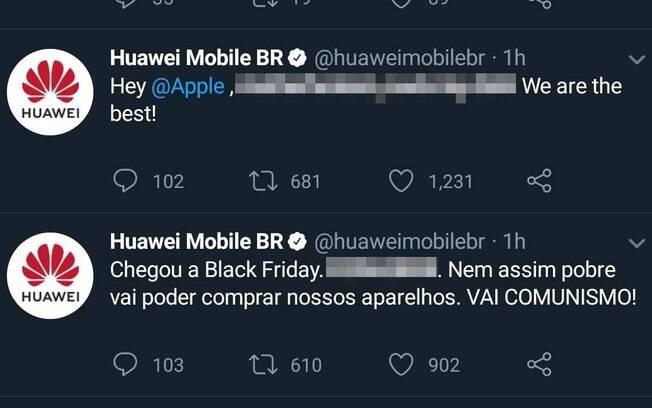 Conta da Huawei no Twitter fez publicações ofensivas