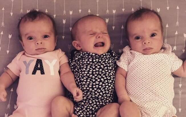 As trigêmeas Avery, Emery e Bradley nasceram em julho de 2018 depois de tentativas falhas com fertilização in vitro