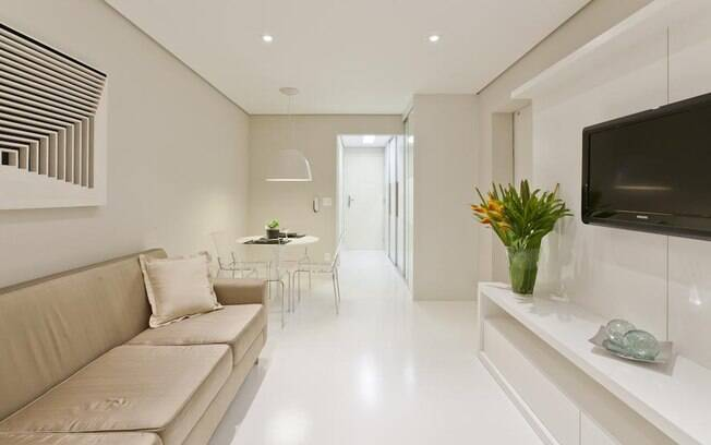 Flat de 48 m² abusa do branco e de ambientes integrados - Arquitetura