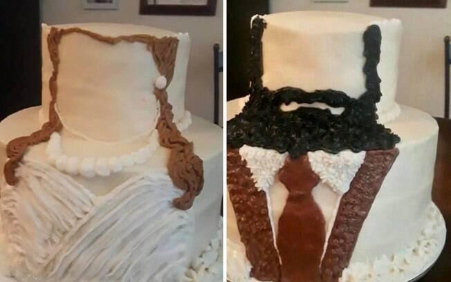 Esse casal decidiu inovar no bolo de casamento e optou por um bem realista, mas os internautas não aprovaram