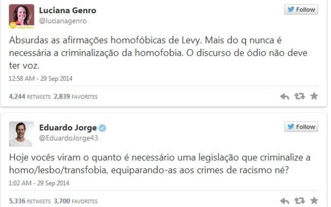 Luciana Genro e Eduardo Jorge criticaram pelo Twitter a postura homofóbica de Levy Fidelis