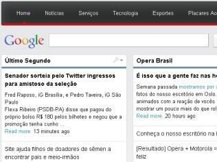 Conteúdo do iG na página inicial do Opera
