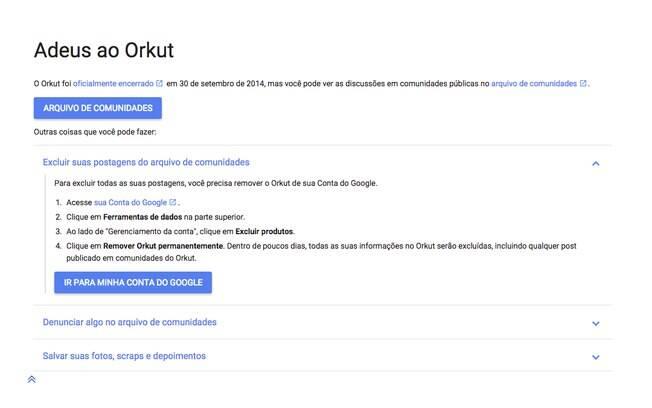 A primeira opção é excluir todas as suas postagens das Comunidades. Para isso, você precisa remover o Orkut de sua conta do Google