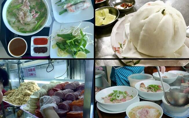 Os pratos que experimentamos no Vietnã. Da esquerda superior pra direita inferior: Summer roll e Phó, Dumpling, Banh Mi e o Phó sendo preparado