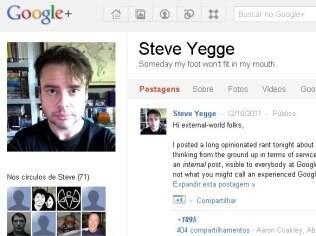 Perfil de Steve Yegge, engenheiro do Google, mostrava reclamações sobre o Google+