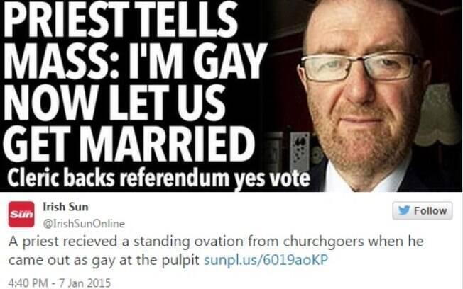 O padre Martin Dolan pediu para a congregação de sua igreja apoiar o casamento homossexual e declarou:
