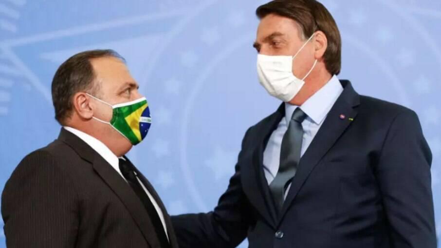 Ex-ministro da Saúde, Eduardo Pazuello e o presidente da República, Jair Bolsonaro