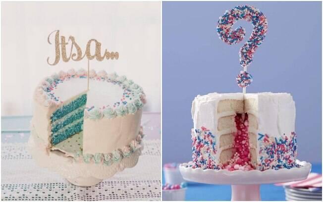 Uma das formas mais clássicas de revelar o sexo do bebê é com um bolo de cobertura branca e recheio rosa ou azul