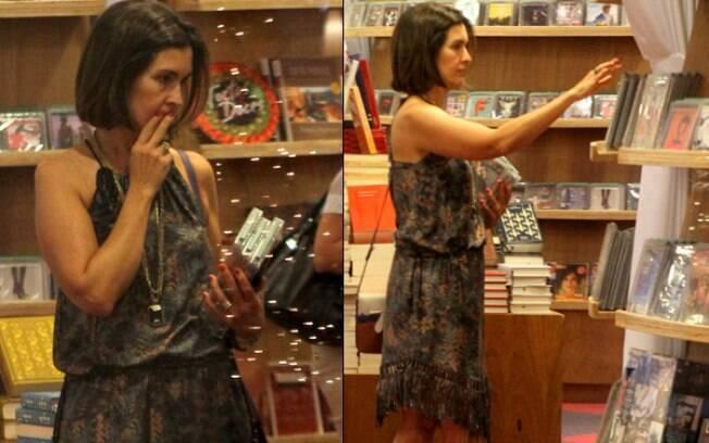 Fátima Bernardes escolhe DVDs em livraria do Rio