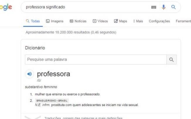 Definição polêmica viralizou na internet relacionada à pesquisa do termo 'professora' na plataforma de buscas Google.