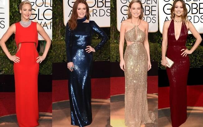 Celebridades optaram por vestido brilhantes, decotados e com recortes na região da barriga para o Globo de Ouro 2016