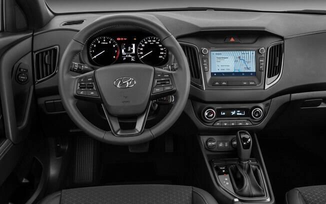 Hyundai Creta Sport também não tem cromados no interior. Mas conta com boa lista de itens de série