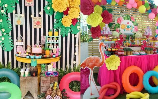 Boias, espaguetes e cadeiras de praia são itens indispensáveis para a decoração da mesa do bolo de uma pool party infantil