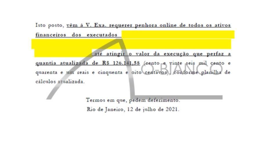 Atriz pediu a penhora de mais de R$ 126 mil do proprietário da empresa