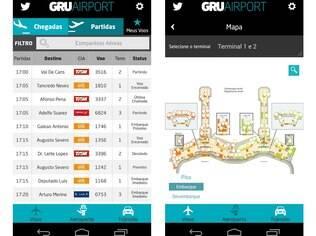 Disponível em 3 idiomas e para iOS e Android, app GRU Airport conta com mapas dos quatro terminais do aeroporto paulista e envia alertas de status de voos em tempo real